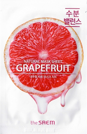 The Saem~Маска тканевая с экстрактом грейпфрута~Natural Grapefruit Mask Sheet
